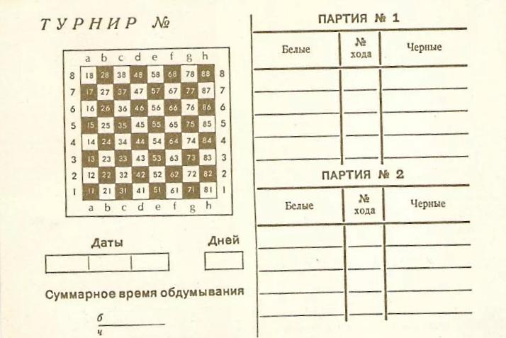 почтовая карточка для игры в шахматы