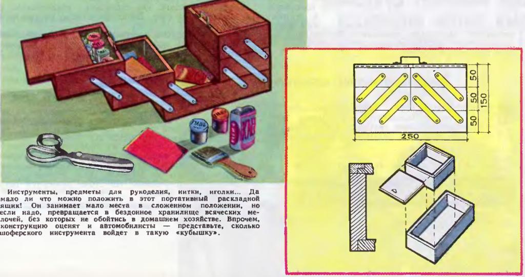 хема изготовления раскладного ящика